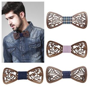 Other - Intricate Hollow Wooden Butterfly Bow Tie